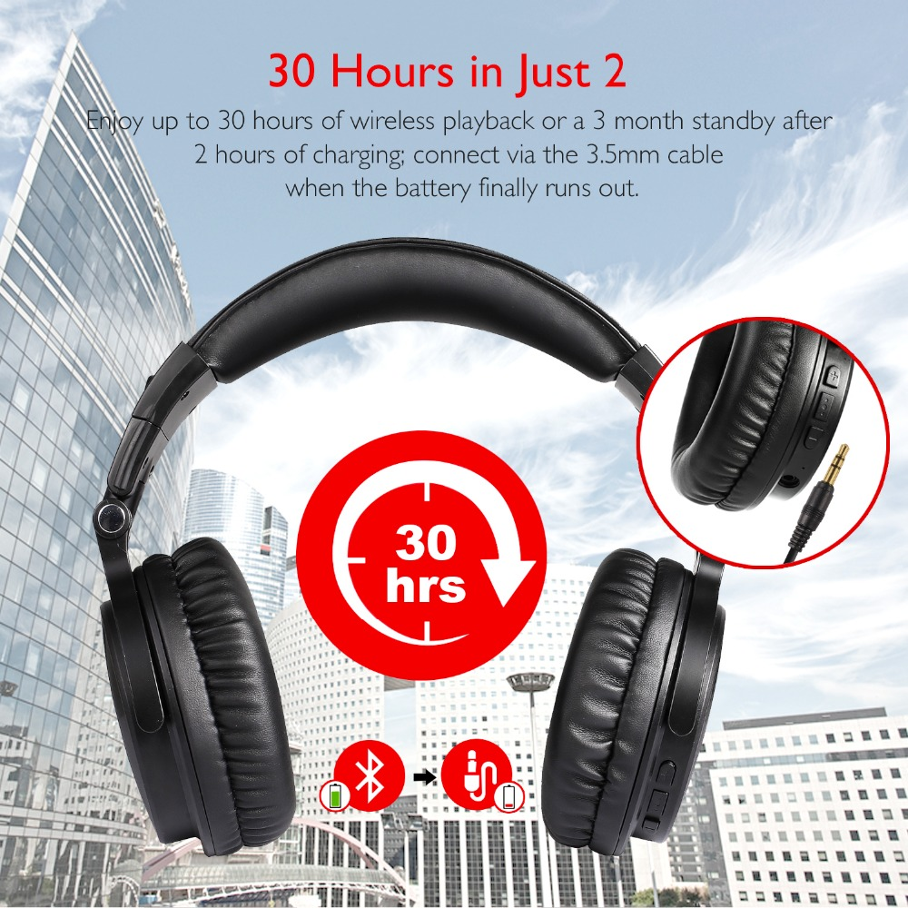 Oneodio cancelación del ruido auriculares V4.1 auriculares Bluetooth Wireless-Ear estéreo inalámbrico + Cable de auriculares para teléfonos móviles PC nuevo - 2