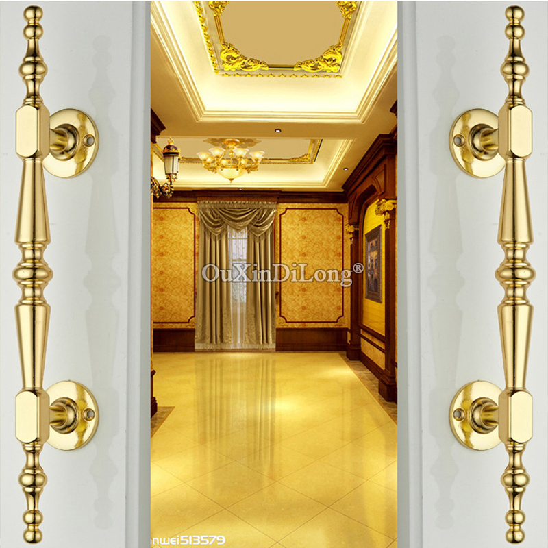 Luxury 2PCS European Gold Solid Wooden Door Handles Sliding Door Handles for Cupboard Wardrobe Drawer Cabinet KTV Doors entrance door handle solid wood pull handles pa 377 l300mm for entry front wooden doors