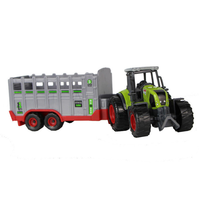 1:32 Plastik Petani Traktor Pertanian Kendaraan Model mainan Gandum Pemanen Gandum Loader Model Mobil Mainan Pendidikan untuk Anak Laki-laki