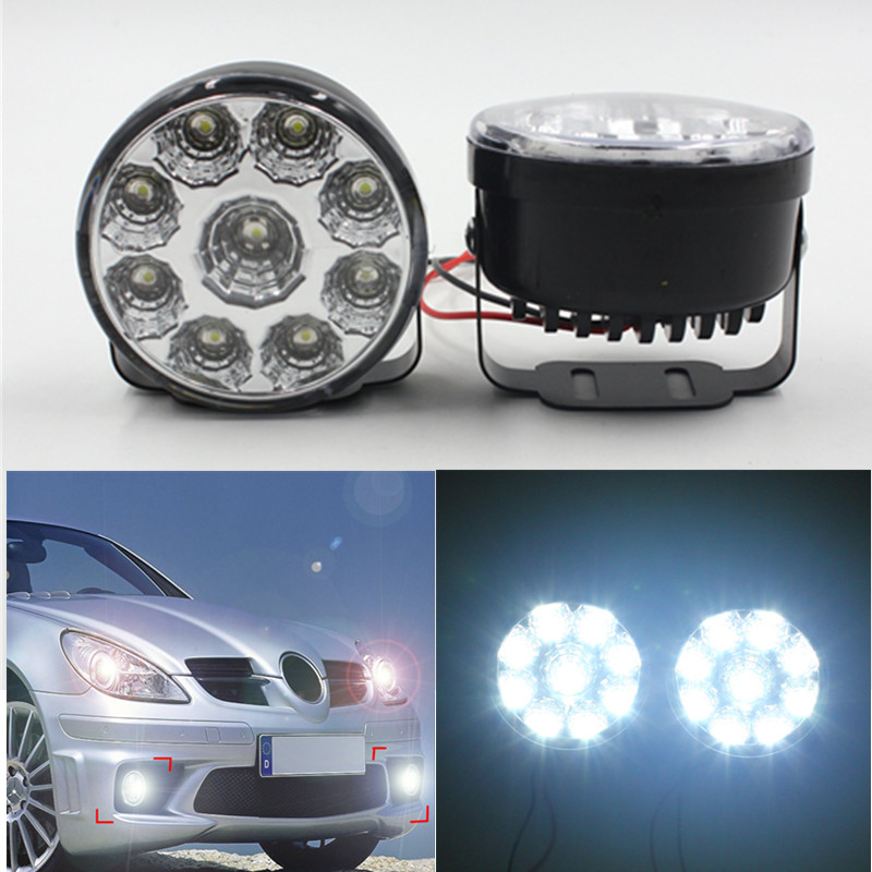 High quality 9LED Round Daytime Running Light DRL With Automatic Switch Car Auto Circular 9 SMD LED DRL day driving light high quality h3 led 20w led projector high power white car auto drl daytime running lights headlight fog lamp bulb dc12v
