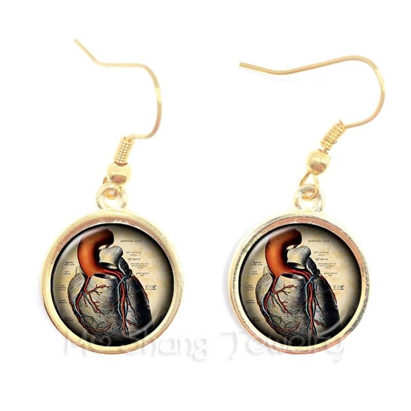Human Anatomy Organ Glass Cabochon Earrings For Women Science Medical Punk Brain Eye Jewelry Creative Gift