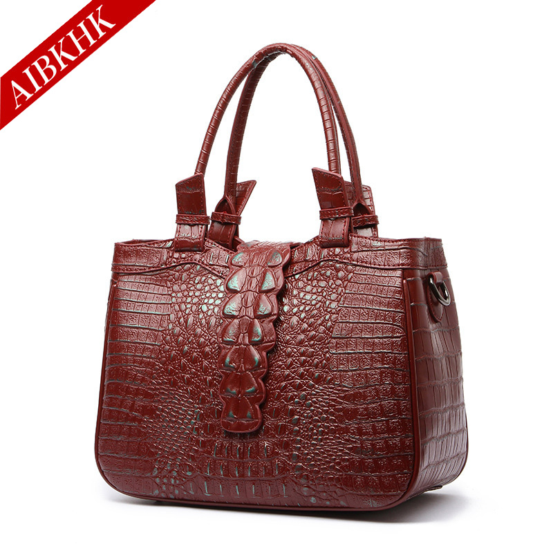 100% Genuine Leather Women Handbags New Fashion High Quality Ladies Shoulder Bags Female Girl Alligator Brand Luxury Bag qiaobao 100% genuine leather handbags new network of red explosion ladle ladies bag fashion trend ladies bag