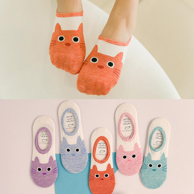0ce5b8e645184 Summer Cute Girls Cat Invisible Slippers Women Animal Style Cotton Funny  Sock Striped Sweet Pink Dog Yellow Duck No Show Ladies