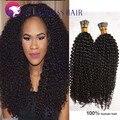 100 Kertain i ponta extensões de cabelo encaracolado kinky Mongolian virgem do cabelo humano extensões de cabelo fusão i ponta pré-ligado cabelo tecer