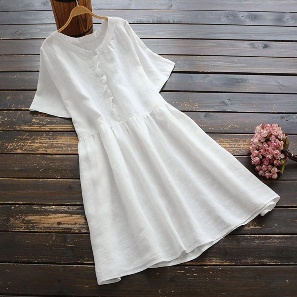 Frauen Soild Baumwolle Und Leinen Kleid Beiläufige Lose Taille Kurzen Große Hülse O-ansatz Mini Kleid Strand Kleid Sommer Kleidung Für Frauen Reines Und Mildes Aroma