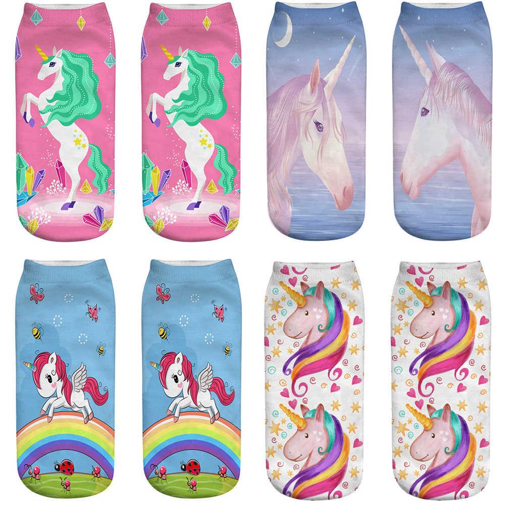 ฤดูร้อนผู้หญิงสีชมพู Unicorn ถุงเท้า 3D พิมพ์สัตว์การ์ตูน Art Novelty sloth สั้นสไตล์ Street hipster Kawaii Femme