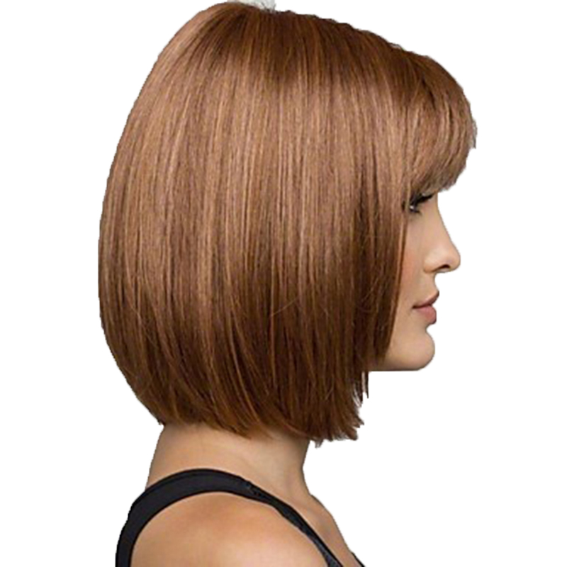 Image 4 - HAIRJOY Women Synthetic Wigs Brown Short Straight Bob Hairstyle  Heat Resistant Full Hair Wig  Freeshipping-in Synthetic None-Lace  Wigs from Hair Extensions & Wigs