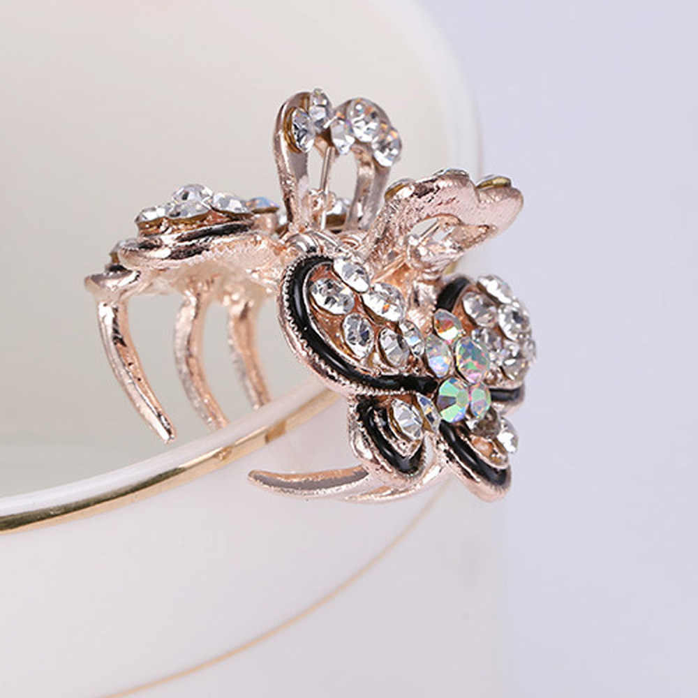 Женские Винтажные заколки для волос с кристаллами модные стразы мини-бабочка Корона Заколки для волос Ретро Свадебные украшения для волос аксессуары