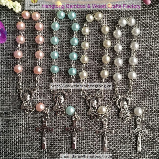 200pcs pack mixed blue white pink pearl color rosary bracelet denary with virgin mary center and