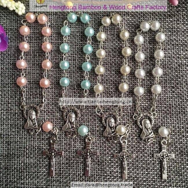 200 sztuk/paczka mieszane niebieski, biały, różowy, kolor perłowy bransoletka różaniec, denary z centrum dziewicy maryi i mini benedykta w Plecione bransoletki od Biżuteria i akcesoria na  Grupa 1