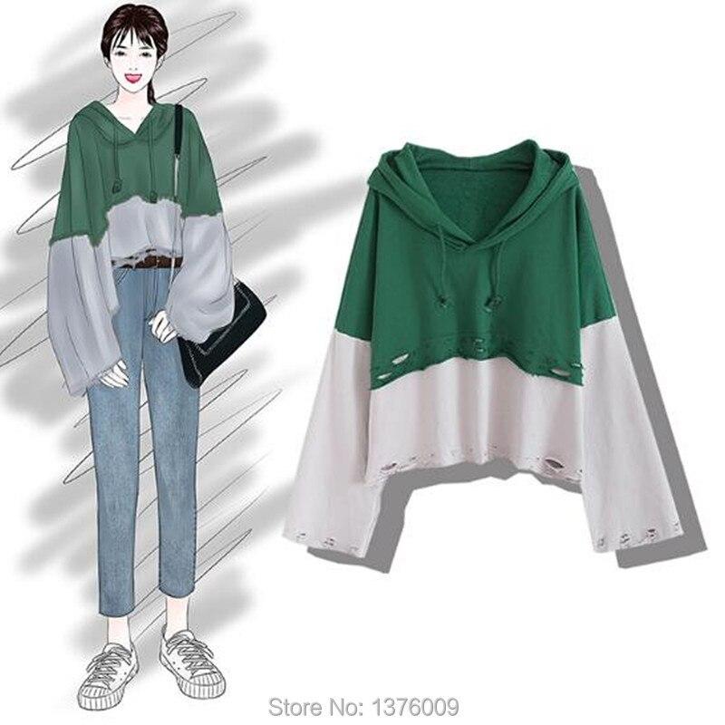 Harajuku Frauen Hoodies BF Lose Mit Kapuze Sweatshirt Kurz Stil Langarm Übergroße Pullover Lolita Casual Mode Kpop