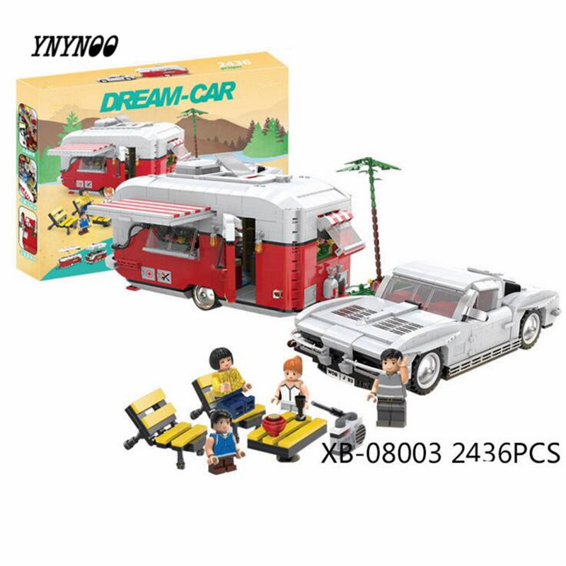 YNYNOO 08003 2436Pcs New Creative Series The MOC Camper Set Children Educational Building Blocks Bricks Toys Model Funny Gifts