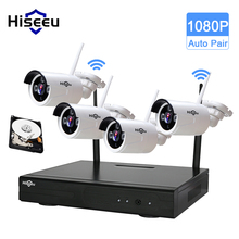Hiseeu Sans Fil CCTV Système 1080 P 4CH étanche de sécurité IP caméra 2.0MP Surveillance de la sécurité extérieure système kits P2P 2 TB HDD