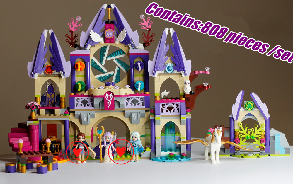 Bela fairy Elves Skyra's Mysterious Sky Castle model Building Blocks Fairy Tale Girls toy compatiable with lego kid gift set