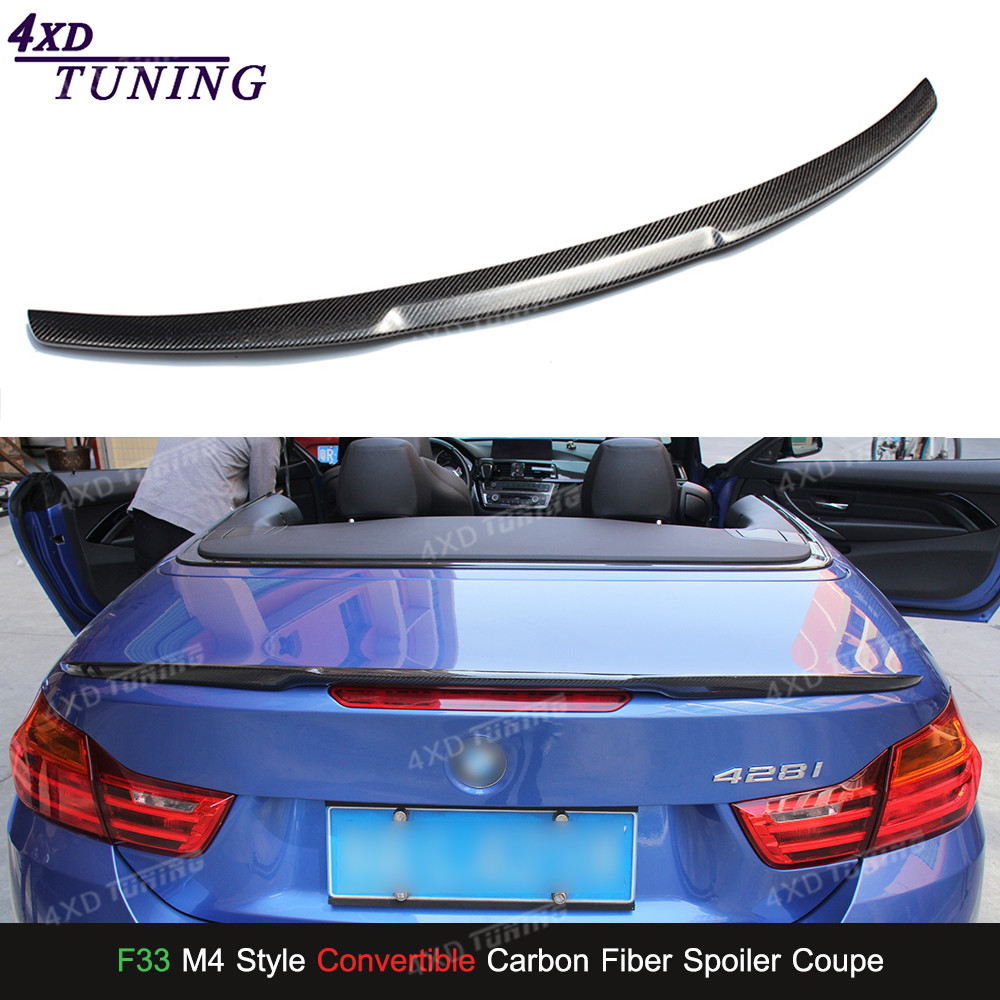 For BMW F33 Carbon Spoiler M4 Style 4 Series F33 & F83 M4 Carbon Fiber Rear Spoiler car Rear Bumper Trunk Wing Convertible 2014+ m4 style e93 carbon fiber rear wing spoiler for bmw e93 convertible 3 series 2005 2011 racing car styling tail trunk lip wing