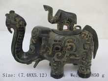Chinese bronze incense burner antique collection.The elephant mother and child