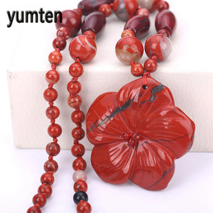 Fine Necklace Red Jasper Flowe