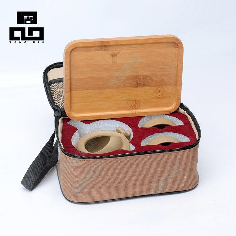 TANGPIN китайский чайный набор кунг-фу с подносом, керамический чайник, чайная чашка, портативный чайный набор для путешествий, чайный сервиз ...