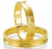 Его и ее любовь кольца золотое покрытие из нержавеющей стали Титан Свадебные украшения кольца