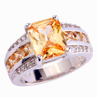 Unisex Rings Anniversary Jewelry Absorbing Champagne Morganite 925 Silver Ring Size 7 8 9 10 Free Shipping For Lady Wholesale