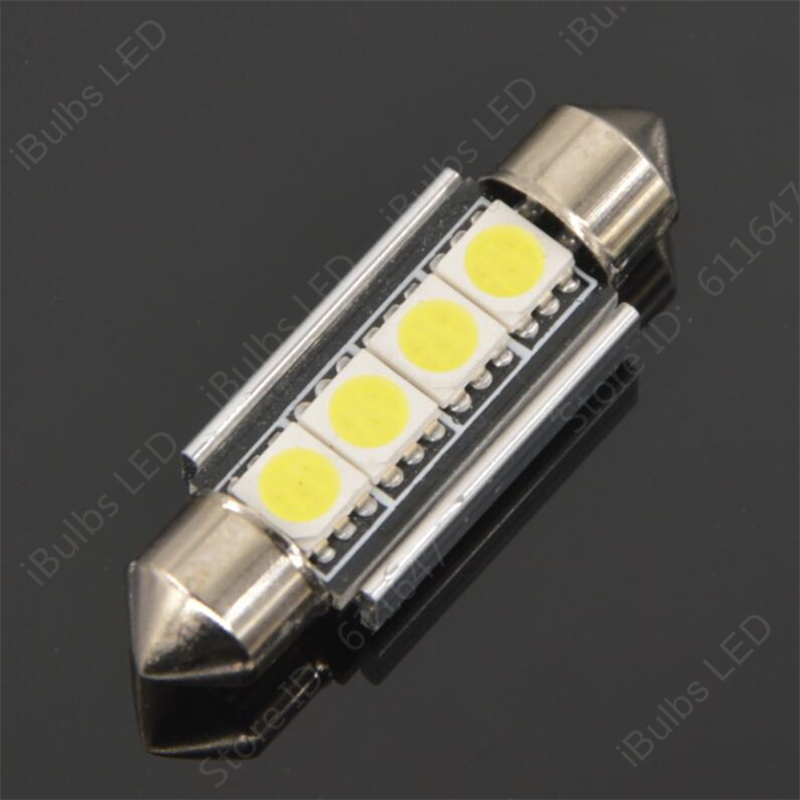 4Pcs Festoon Auto 31mm 36mm 39mm 41mm C5W 4 LED 5050 SMD Canbus Error Free Car Interior Lamp No Electrode Boot Light high quality 31mm 36mm 39mm 42mm c5w c10w super bright 3030smd car led festoon light canbus error free interior doom lamp bulb