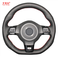 Yuji-Hong Car Steering Wheel Covers Case for VW Golf 6 GTI MK6 VW Polo GTI Scirocco R Passat CC R-Line 2010 Artificial Leather