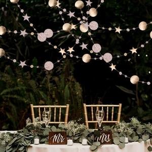 Image 2 - 4メートルミラー紙スターラウンドゴールド花輪フラッシュバナ誕生日結婚式のパーティーの好意ベビーシャワーカーテン装飾用品