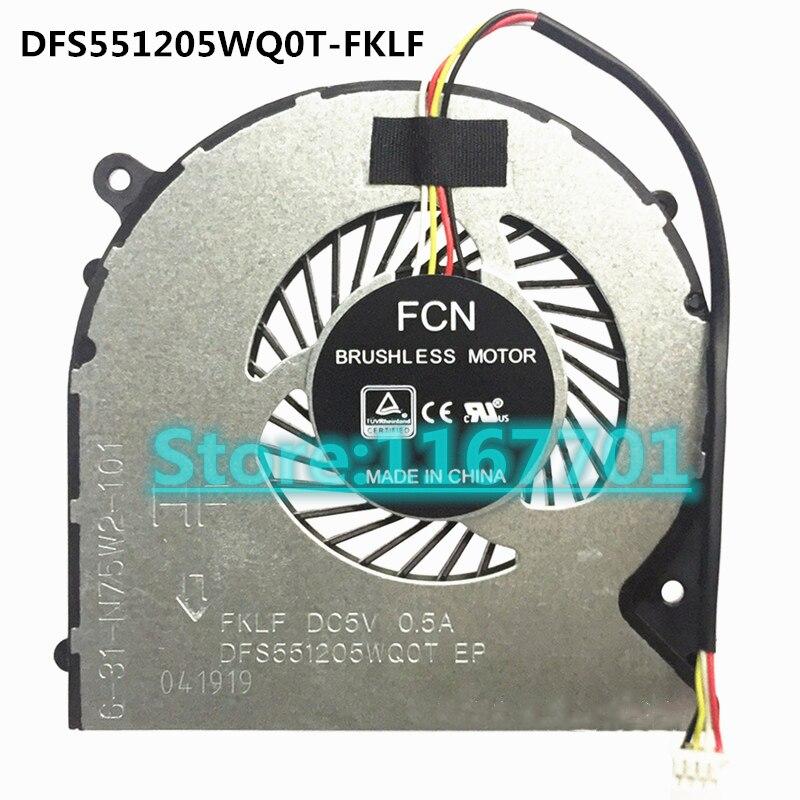 Ordinateur portable CPU/GPU Refroidissement Ventilateur Hasee T6-X5 Z7M-KP7SC Z7M-KP5SC DFS501105PR0T-FKMF 6-31-N85J2-100 DFS551205WQ0T-FKLF 6-31-N75W2-101
