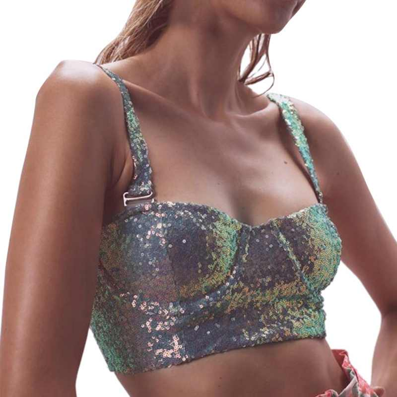 Women Sexy Sequined Sling Night Club Party Wear Crop Top Glitter Nightclub Backless Tank Top Women Clothing 2019 Fashion