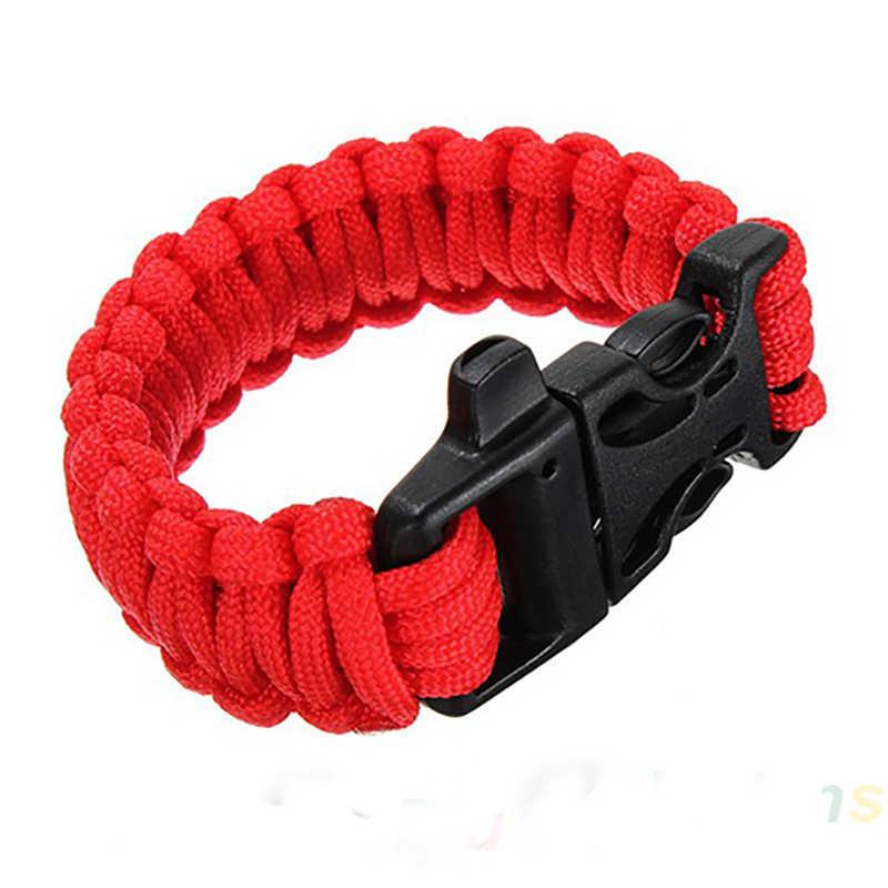 Erkekler Kendi Kendine kurtarma Paraşüt ip bileklikler Düdük Toka Hayatta Kalma Kamp Seyahat Kiti pulseira braccialetto Bilek El Aksesuarları