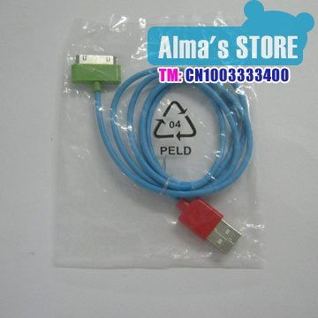 Colorful USB Cable For iPhone 4G 3G iPod usb data cable Free Shipping by DHL
