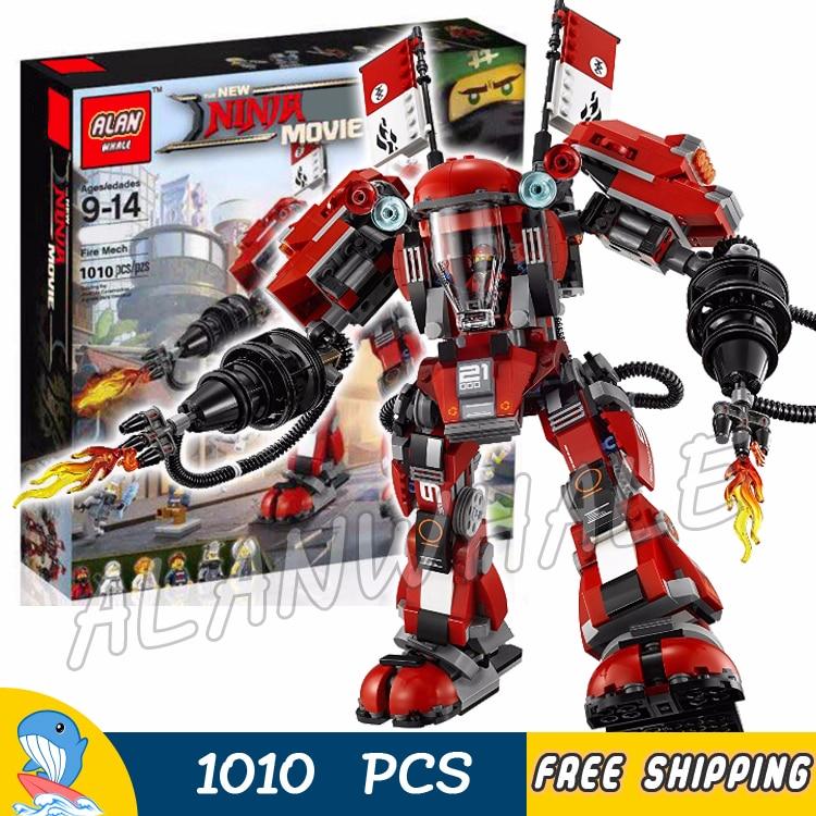 980pcs New Ninja Fire Mech Battle Huge Robots 10720 Model Building Blocks Children Assemble Toys Bricks Compatible With Lego