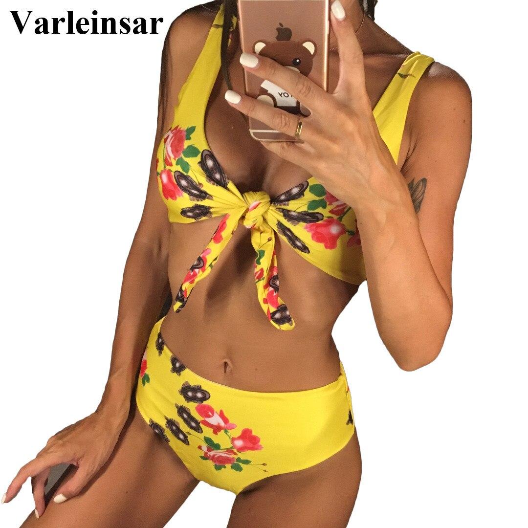2019 Sexy Kreuz V-ausschnitt Verknotet Bikini Set Bademode Weiblichen Badeanzug Hohe Taille Bikini Frauen Badeanzug Badende V572 Schwimmen