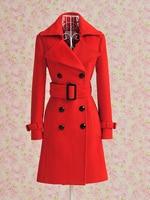 Роско осень и зима женская красный Doubt ремень Chest пальто / женская мода зима trench / kashmir