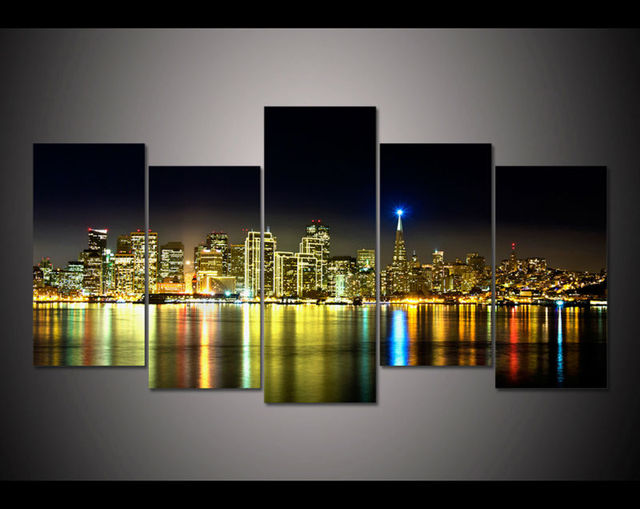 Wonderful 5 Panel Large HD Printed Painting San Francisco California Canvas Print Art  Home Decor Wall Art