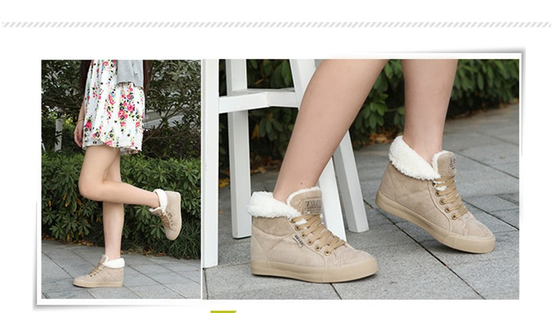 New Women Winter Faux Suede Leather Warm Plush Ankle Boots Autumn Women Shoes Fur Snow Boots Comfortable Running Shoes Sneakers 22