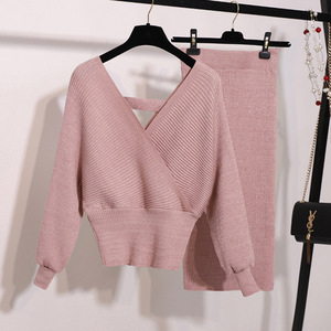 Image 1 - New Autumn Woman Knitted Two pieces Suit Solid Sweater Pencil Skirt Set for Woman Female Winter Warm Suits 2019