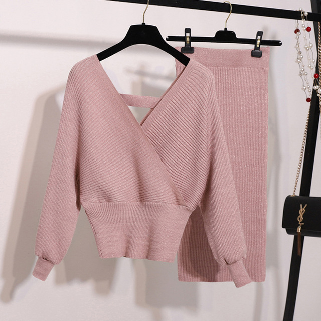 New Autumn Woman Knitted Two pieces Suit Solid Sweater Pencil Skirt Set for Woman Female Winter Warm Suits 2019