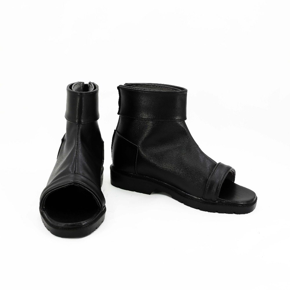 Anime Naruto Orochimaru Cosplay Party Shoes Black Peep Toe Boots Custom Made For Halloween Carnival Christmas