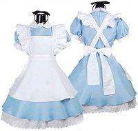 Livraison gratuite Vente Chaude Alice au Pays Des Merveilles Costume Lolita Robe Demoiselle Cosplay Fantasia Carnaval Halloween Costumes pour Femmes