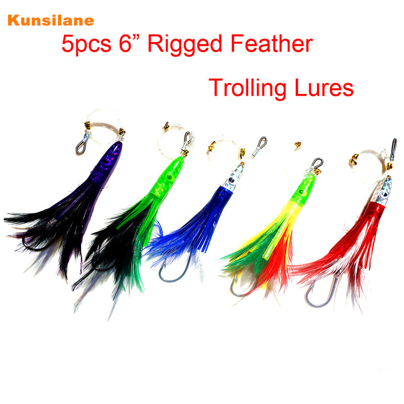 5pcs 6 / 15.6cm Assorted Colors Rigged Feather Trolling Skirt Lure for Big Game Fishing Marlin Tuna with Stainless Steel Hook slit back contrast feather pencil skirt