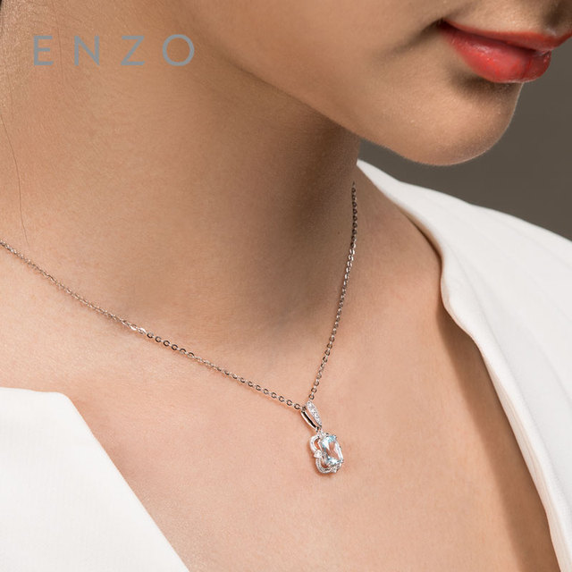 Precious Collections Blue Topaz/Diamond Pendant 18K White Gold Natural Gemstone Fancy Design For Woman's pendants Necklace 4
