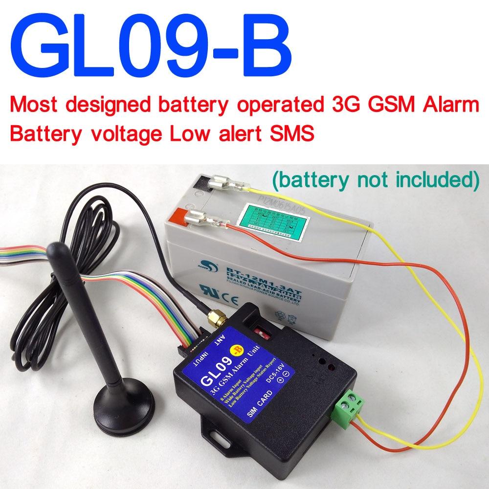 Batterie exploité GL09-B 3G système alarme gsm SMS Alerte alarme sans fil Maison et industrielle alarme antivol de sécurité
