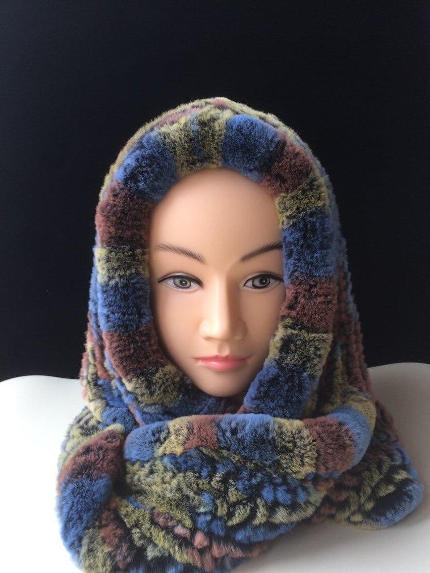 ICYMI hiver chapeau à capuche écharpe Rex fourrure de lapin tricoté casquette bonne qualité vraie fourrure écharpes et chapeaux Super chaud femmes chapeau d'hiver - 4