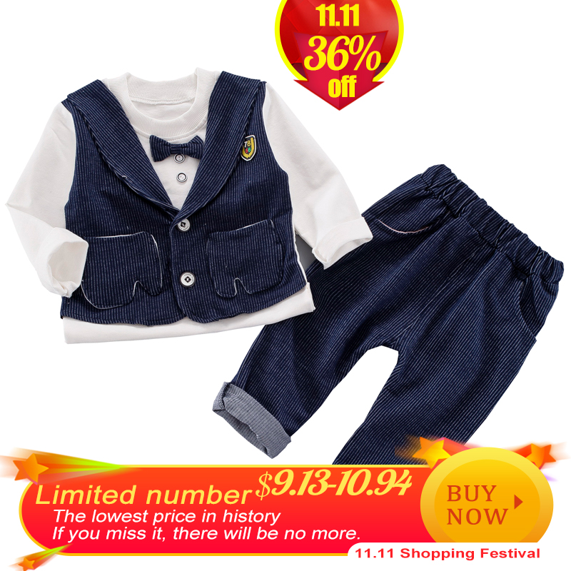 2018 Fashion Baby Boy Clothes Sets Gentleman Suit Toddler Boys Clothing Set Long Sleeve Kids Boy Clothing Set Birthday Outfits fashion children toddler boys clothing set brand 3pcs stripe formal baby boy clothes gentleman suit long sleeve kids outfits
