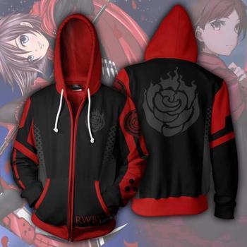 Anime RWBY Hoodie Rubin Rose Sweatshirts Cosplay Kostüm Jacke Zipper Kleidung