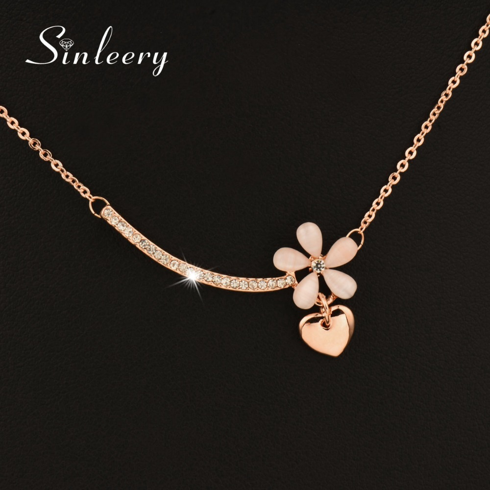 SINLEERY Lovely Opal Flower &Heart Necklace Pendants Rose Gold Color Short Chain For Women Jewelry Accessories Xl531 SSC