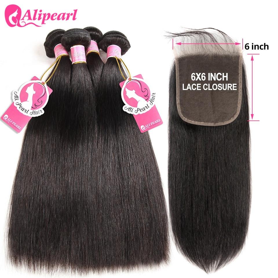HTB1pdfzazzuK1RjSspeq6ziHVXai AliPearl Human Hair Bundles With Closure 6x6 Transparent Pre Plucked Brazilian Straight Bundles With Closure Remy Hair Extension