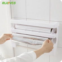 Kitchen Organizer Cling Film Sauce Bottle Storage Rack Tin Foil Paper Towel Holder Kitchen Shelf Plastic Wrap Cutting