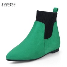 SALCXOI spring/autumn women boots fashion flock lady low heel shoes height increasing ankle boots for women free shipping &22-9